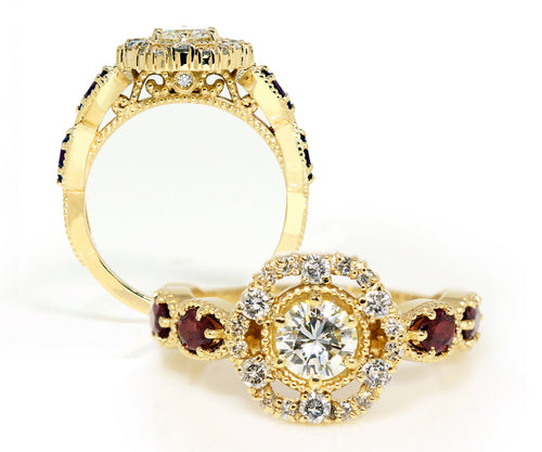 vintage floral halo diamond garnet custom yellow gold engagement ring