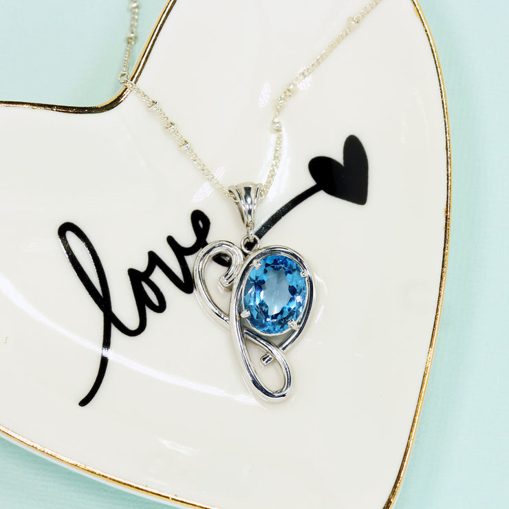 London Blue Topaz Heart Silver Necklace