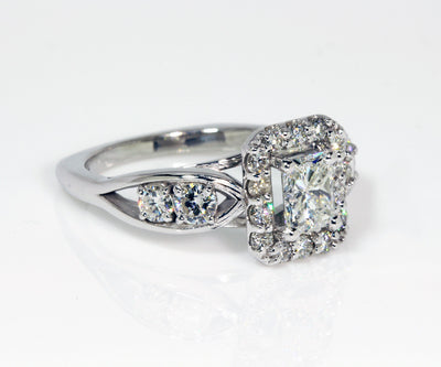 Radiant Diamond Halo Wedding Ring