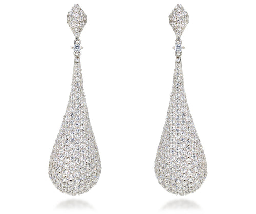 womens pave crystal teardrop large statement chandelier bridal wedding silver earrings