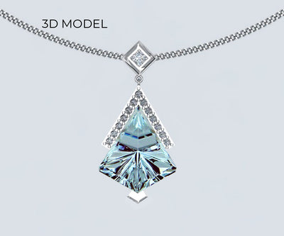 Kite-shaped Aquamarine and Diamond Necklace