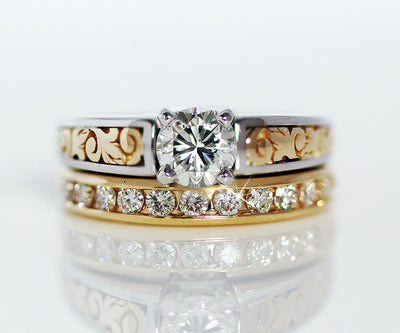 custom designed western engraved wedding ring redesigned