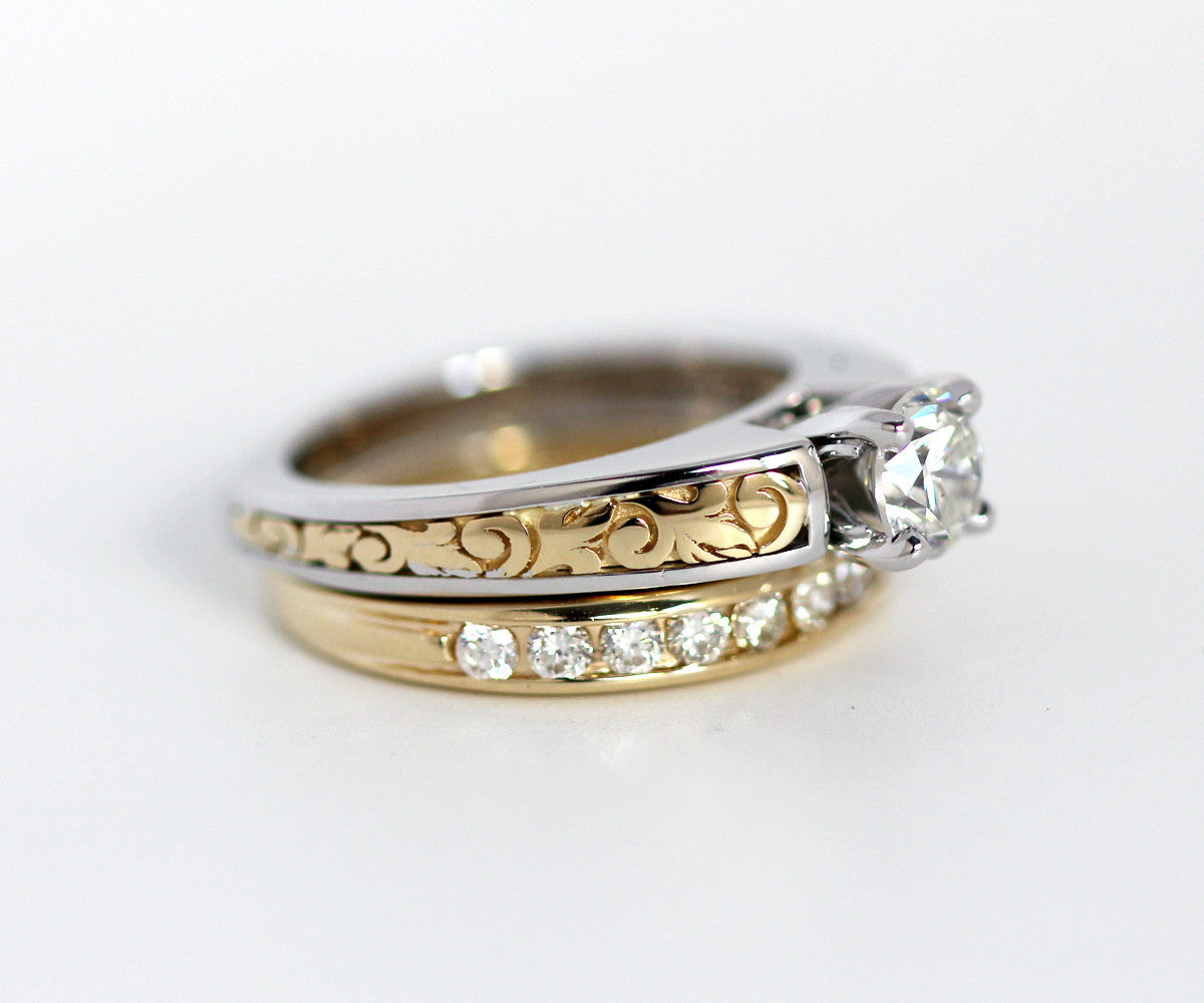vintage engraved two toned wedding ring two tone wedding band Vintage Engraved Two Tone Wedding Ring