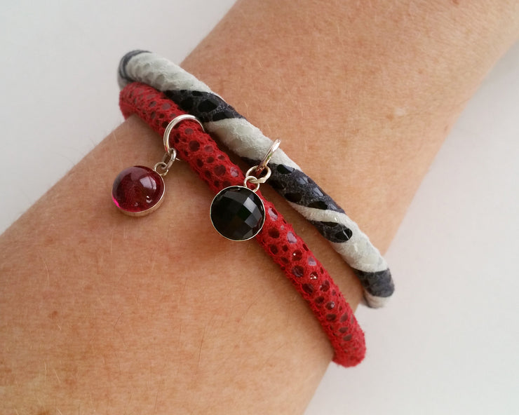 Ruby Gem Charm Leather Bracelet