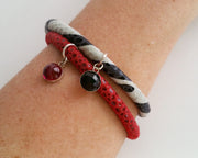Zebra Black Onyx Gem Leather Bracelet