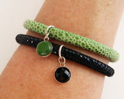 Jade Gem Charm Leather Bracelet
