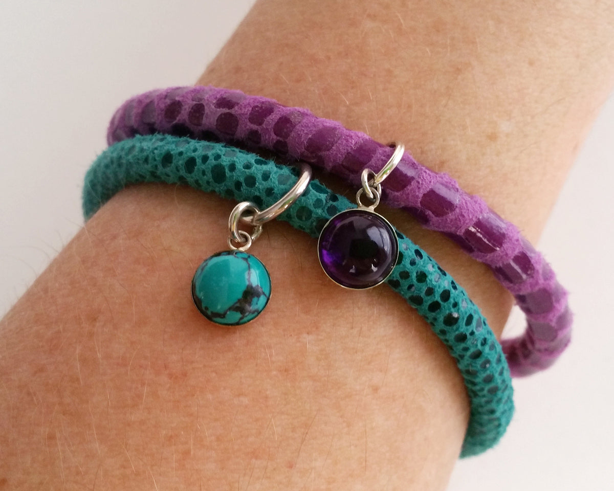 Turquoise Gem Charm Leather Bracelet