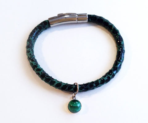 Malachite Gem Charm Leather Bracelet