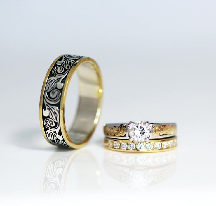 Vintage Engraved Two Tone Wedding Band