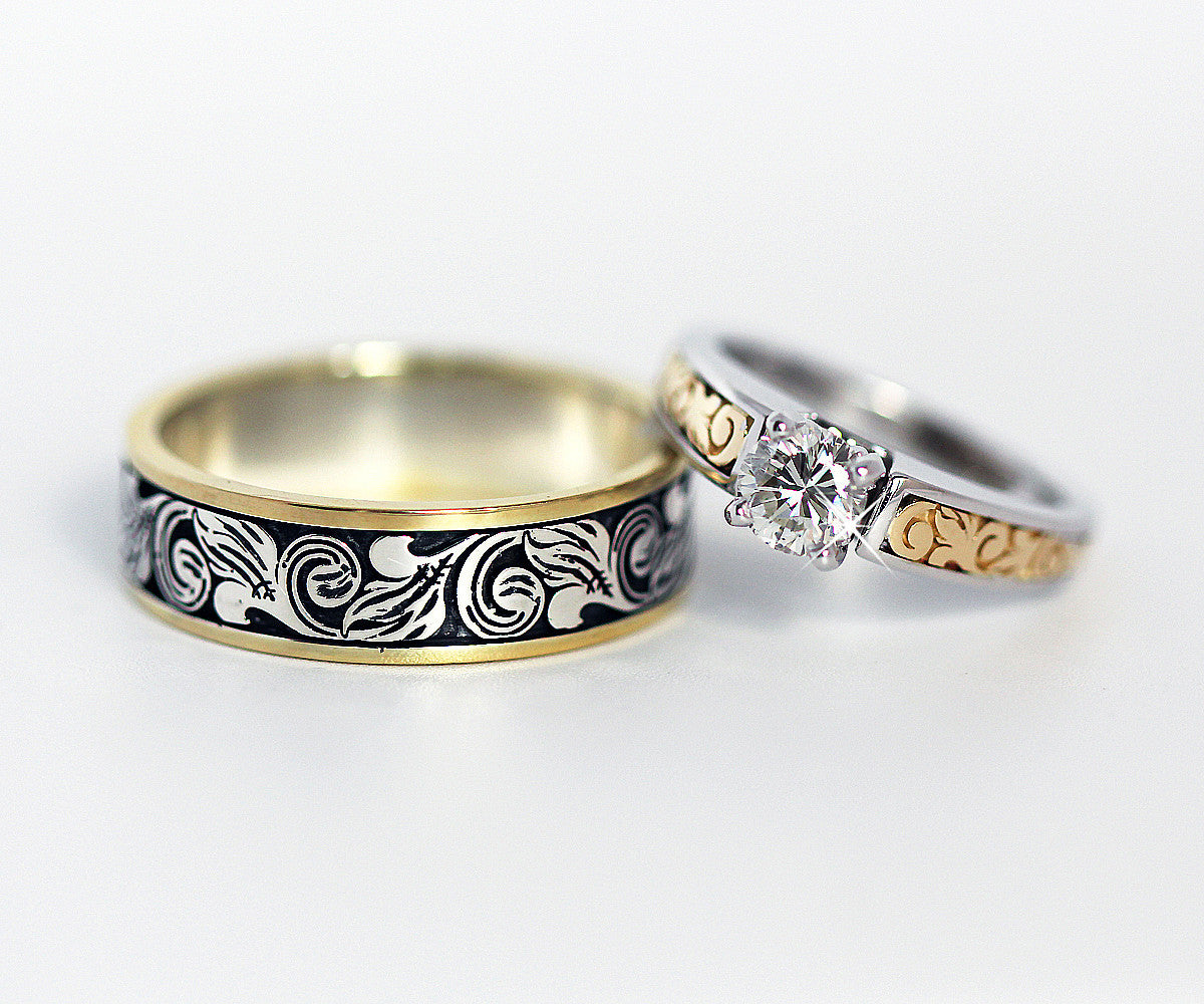Vintage Engraved Two Tone Wedding Ring
