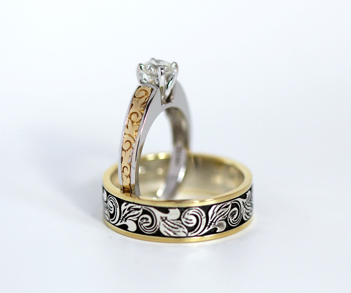 vintage engraved two tone wedding band - Two Tone Wedding Rings