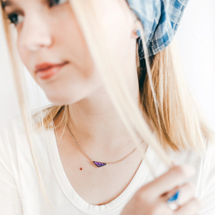 Medium Triangle Blue Druzy Necklace