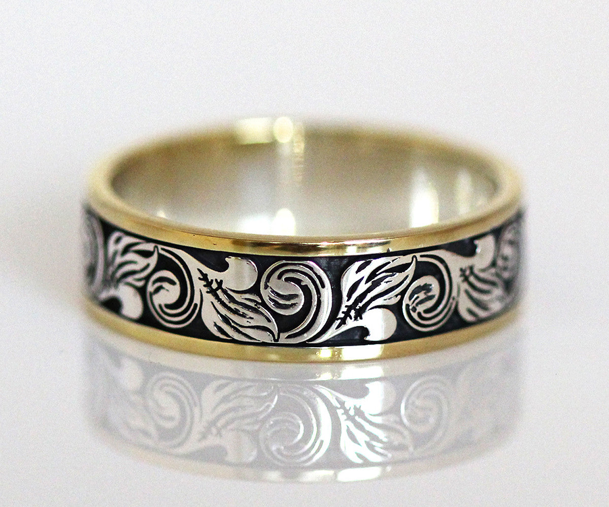 Vintage engraved two tone wedding band ambrosia for Custome wedding rings
