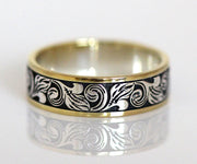 custom western engraved two tone mens wedding ring