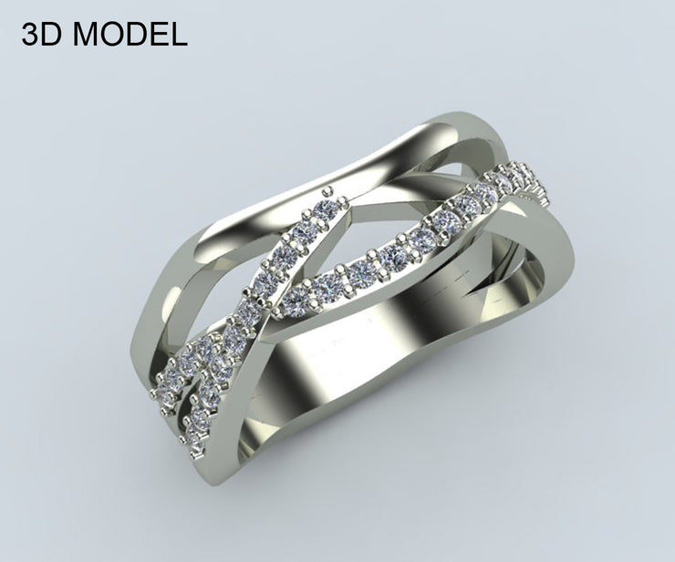 Modern Multi Row Diamond Wedding Band