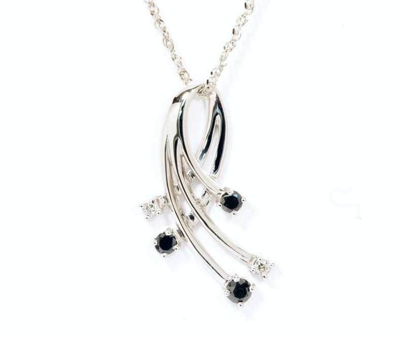 Black and White Diamond Modern Necklace