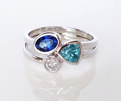 Modern Mother's Sapphire and Zircon Ring
