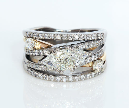 custom designed modern Contemporary Multi row two tone diamond wedding ring