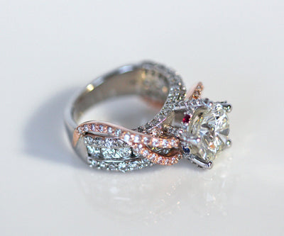 Modern Pink and White Diamond Wedding Ring