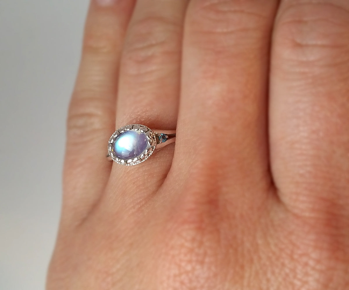 Vintage Swirl Moonstone Engagement Ring
