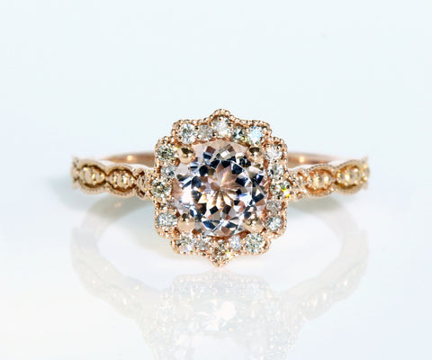 Vintage Morganite and Diamond Halo Engagement Ring