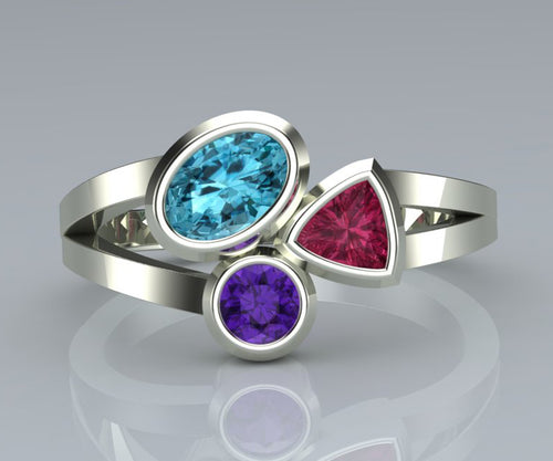 Modern Multi Gem Mother's Silver Ring