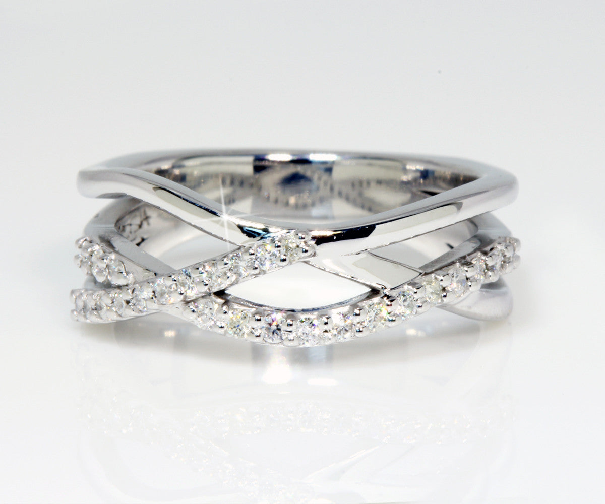 custom designed modern multi row diamond wedding band