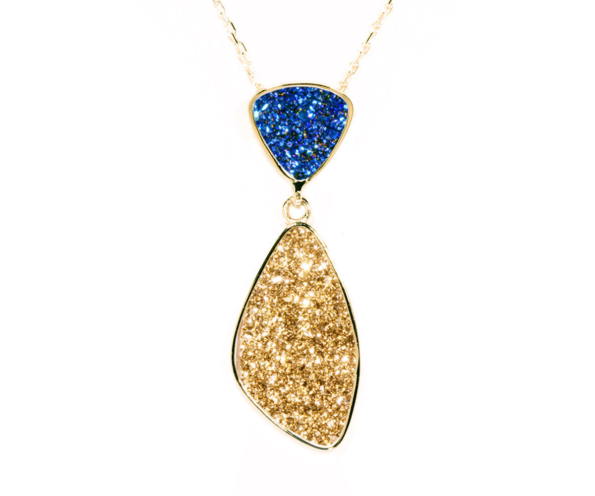 Double Drop Trillion Blue & Gold Druzy Necklace