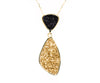 Double Drop Trillion Black & Gold Druzy Necklace