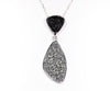 Double Drop Trillion Black & Platium Druzy Necklace