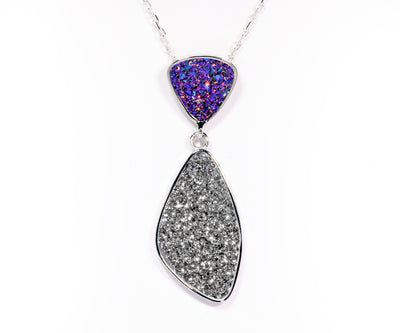 Double Drop Trillion Purple & Platinum Druzy Necklace
