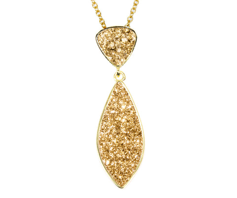 Double Drop Marquise 18K Gold Druzy Necklace