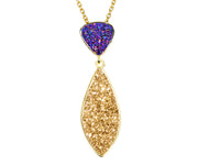 Double Drop Marquise Purple 18K Gold Druzy Necklace