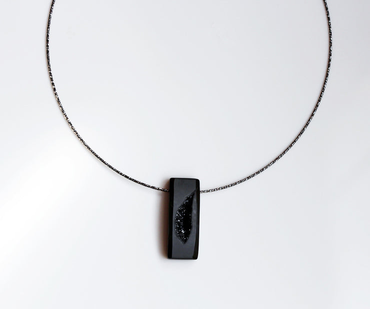 Modern Midnight Black Druzy Necklace