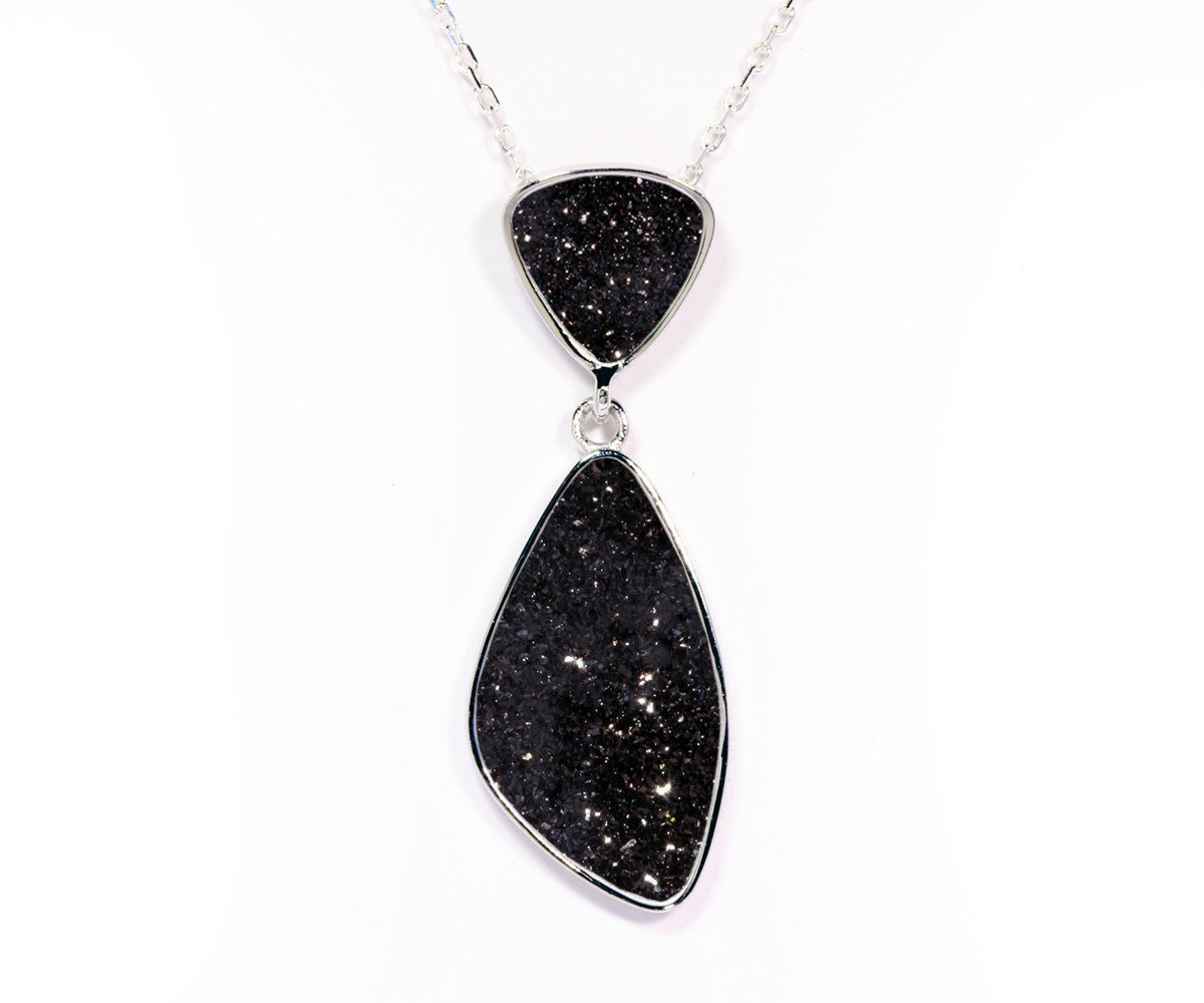 Double Drop Trillion Black Druzy Necklace