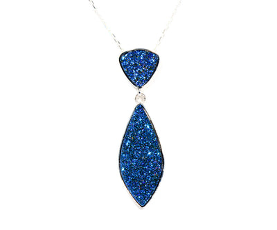 Double Drop Marquise Blue Druzy Necklace