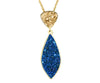 Double Drop Marquise Blue & Gold Druzy, 14K Gold Necklace