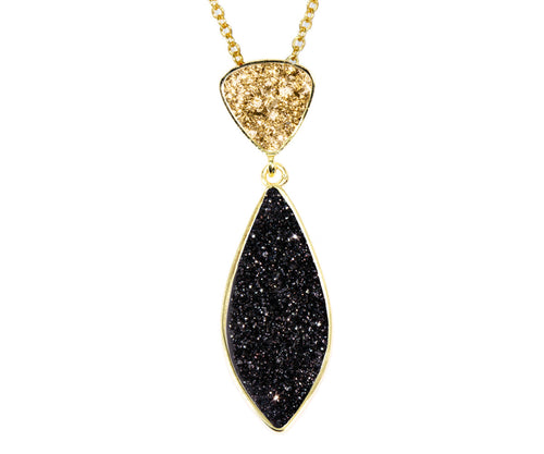 Double Drop Marquise Black & Gold Druzy, 14K Gold Necklace