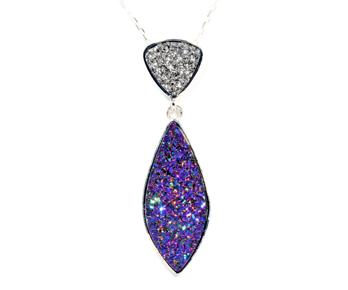 Double Drop Marquise Platinum & Purple Druzy Necklace