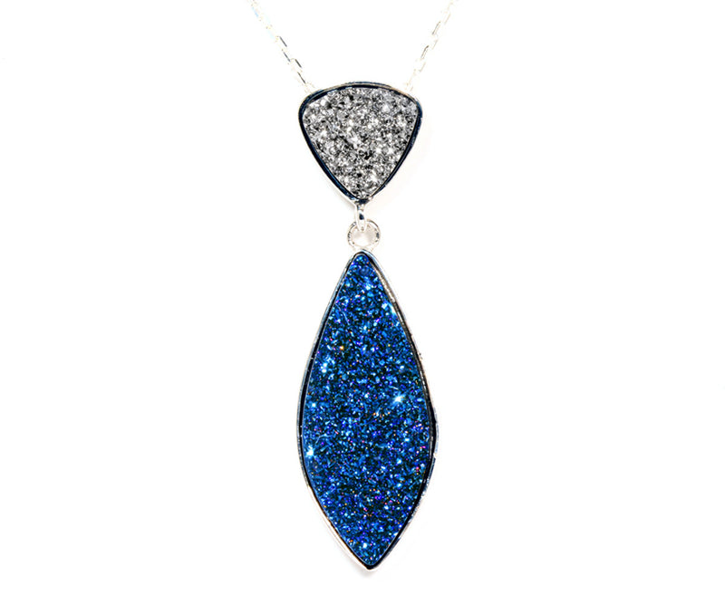 Double Drop Marquise Platinum & Blue Druzy Necklace