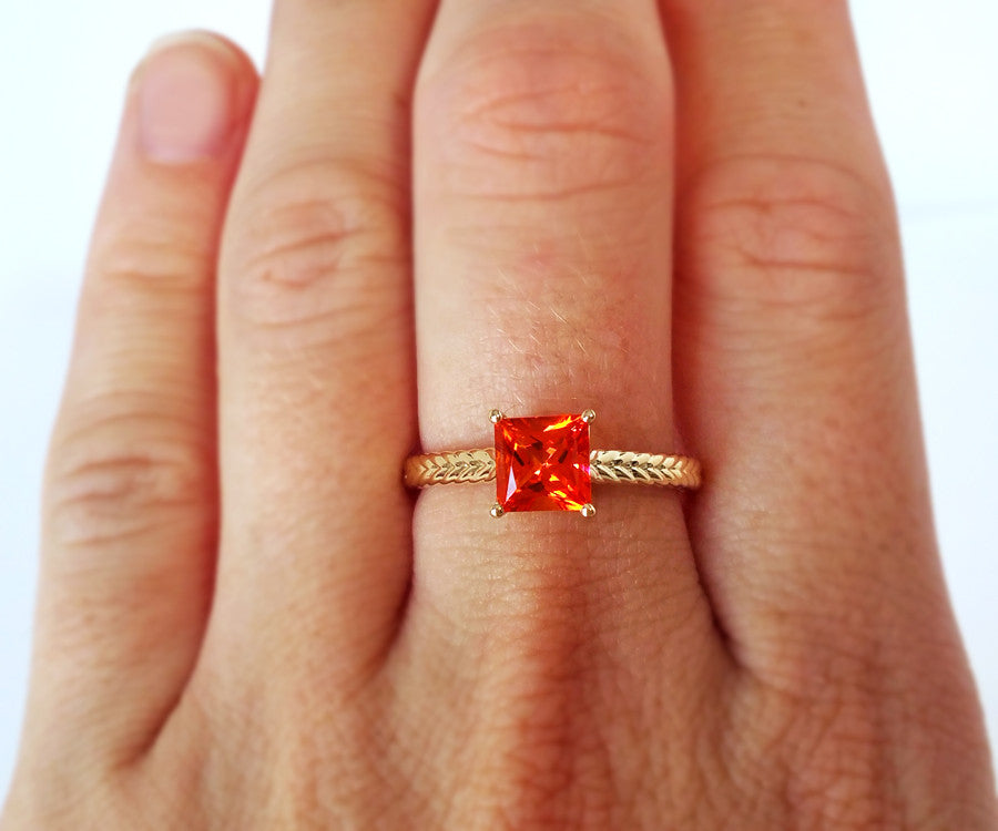 Poppy Orange Topaz Weave Ring