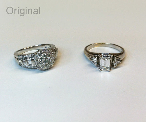 Emerald diamond halo wedding ring redesign ambrosia for Ideas for redesigning wedding rings