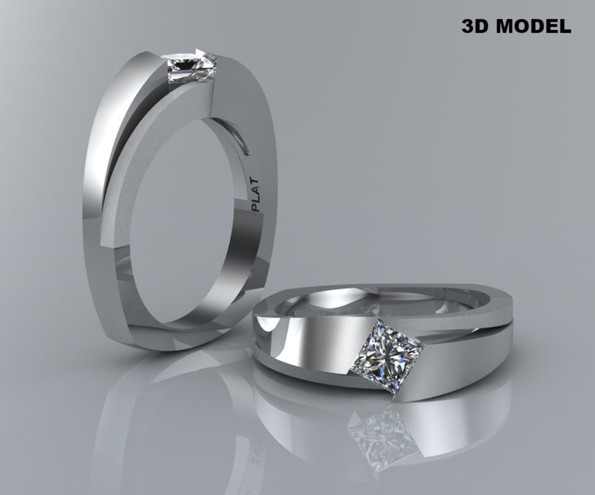 Modern Angled Princess Diamond Solitaire Engagement Ring