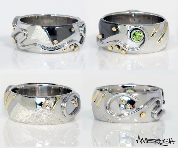 Artistic Peridot Wide Ring