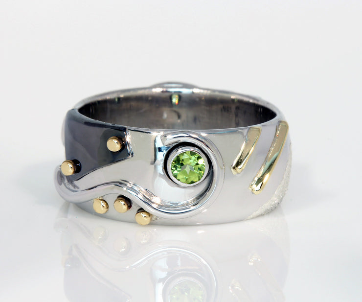 artistic unique peridot silver gold custom design wide ring
