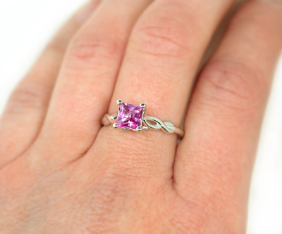 Pink Topaz Infinity Twist Solitaire Ring