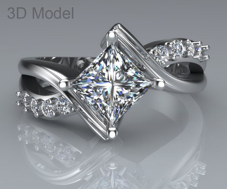 diamonds on gia certified princess band the diamond carmel cut ring engagement with