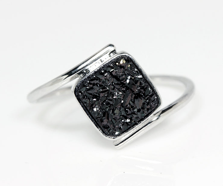 Bypass Square Black Druzy Ring