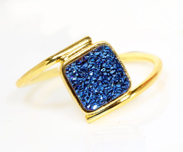 Bypass Square Blue Druzy Gold Ring