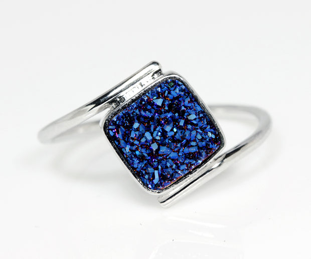 Bypass Square Blue Druzy Ring